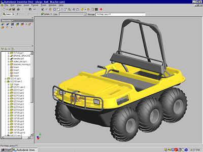 CENTAUR amphibious, all-terrain vehicle modeled in Autodesk Inventor.