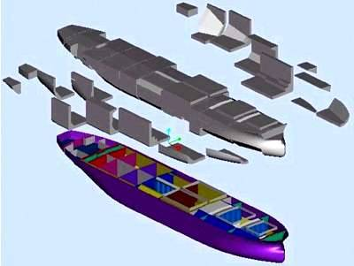 Exploded view of ship compartment using Basic Hull application created by PTCs partner Hyundai Heavy Industries. 