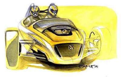 Design sketch of the three-wheel, two-seat concept.