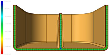 The effect on part thickness when draft is added over the total length of a rib is clearly visible